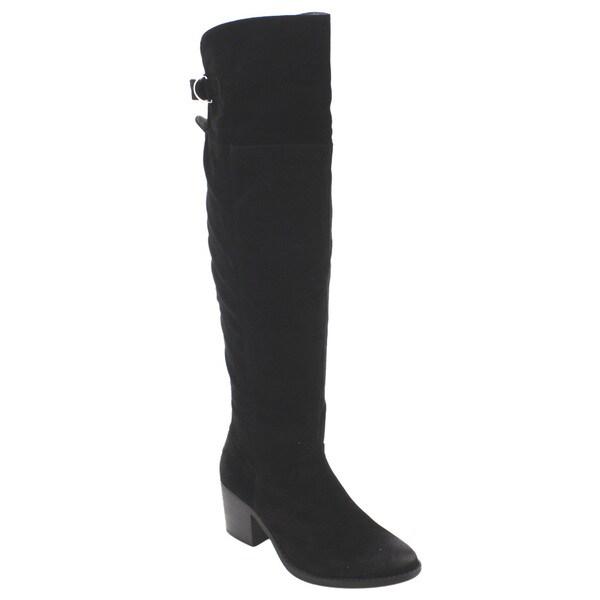 Qupid FD11 Women's Knee-high Back-buckle Chunky-block-heel Boots