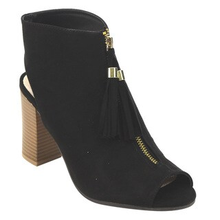 Qupid Women's FC34 Faux-Suede Block Heel Ankle Booties with Tassels/Zipper/Cutout Back