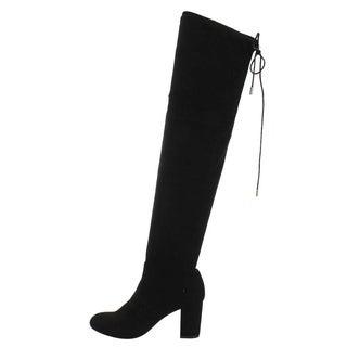 Beston FD19 Women's Faux Suede Over-the-knee Drawstring Block Heel Boots