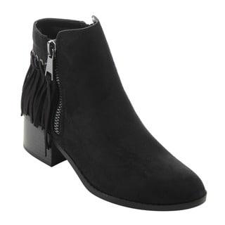 CityClassified FD64 Women's Tan Faux Suede Dual-zipper Low-heel Ankle Booties