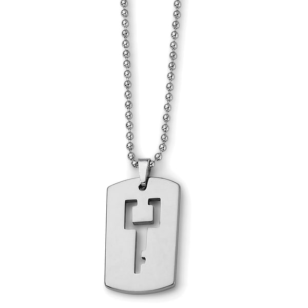 Chisel Tungsten Dog Tag with Key Cut-out Necklace 20229238