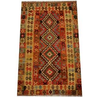 Herat Oriental Afghan Hand-woven Vegetable Dye Wool Kilim (4'1 x 6'7)