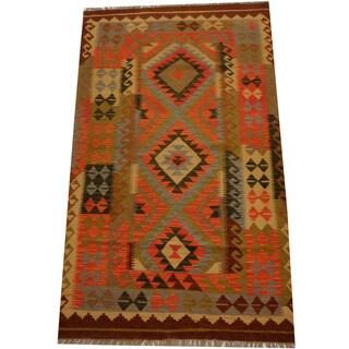 Herat Oriental Afghan Hand-woven Vegetable Dye Wool Kilim (3'11 x 6'8)