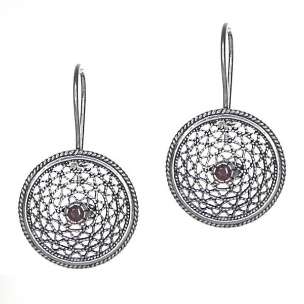 Sterling Silver Filigree Ruby Disc Earrings