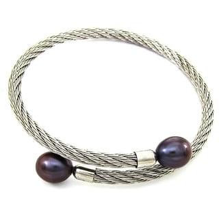 DaVonna Stainless Steel 9-10mm Black Long Shape Pearl Expandable Bangle Bracelet