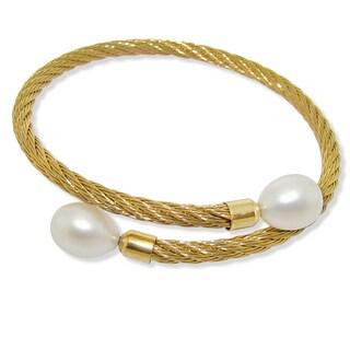 DaVonna Stainless Steel 9-10mm White Long Shape Pearl Expandable Bangle Bracelet.