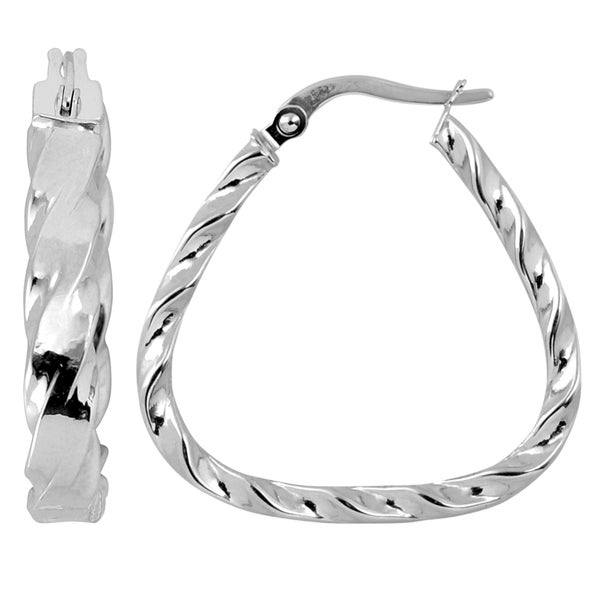 Fremada Italian 14k White Gold Twist Detail Triangular Hoop Earrings