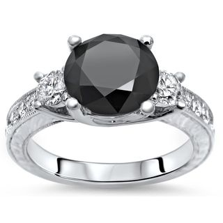 Noori 14k White Gold 3 1/2ct TDW Black and White Diamond 3 Stone Engagement Ring (G-H, SI1-SI2)