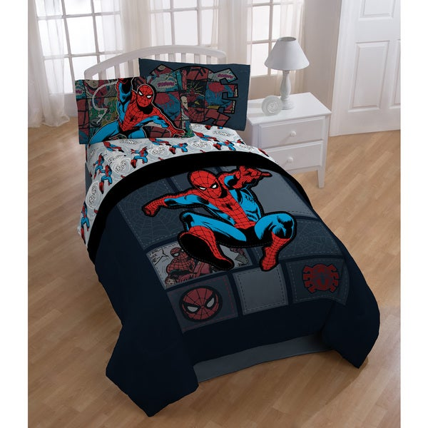 Marvel Spiderman 'Jump Kick' Twin 5-piece Bed in a Bag with Sheet Set 20229987