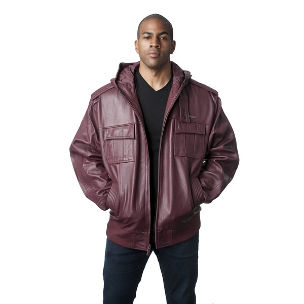 Live Mechanics Victor Red Lambskin Leather Hooded Jacket