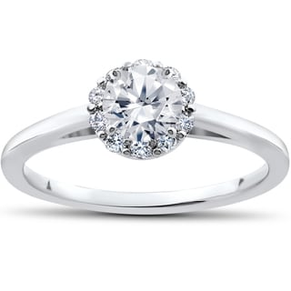 14k White Gold 3/4ct TDW Lab Grown Eco Friendly Diamond Madelyn Halo Vintage Engagement Ring (F-G, SI1-SI2)
