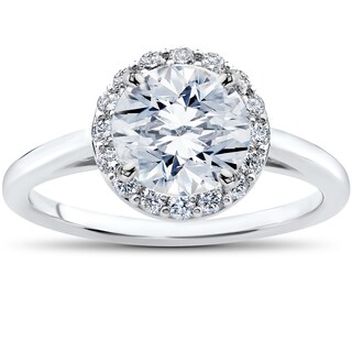 14k White Gold 1 3/4ct TDW Lab Grown Eco Friendly Halo Diamond Madelyn Halo Vintage Accent Engagement Ring (F-G, SI1-SI2)