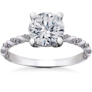 14k White Gold 1 5/8 ct Lab Grown Round Eco Friendly Diamond Engagement Ring (F-G, SI1-SI2)