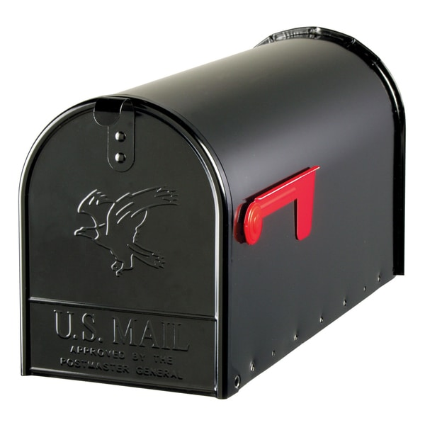 Solar Group E16B Large Galvanized Steel Black Rural Size Mailbox