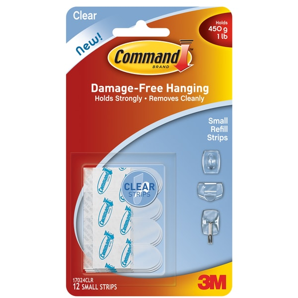 Command Strips 17024CLR Small Clear Command Refill Strips 12-count