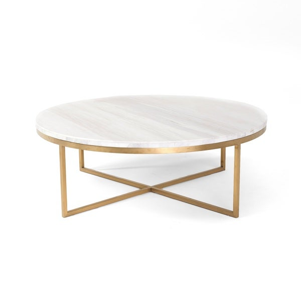 Rst brands valentina brass marble 34 inch round for 34 inch round coffee table