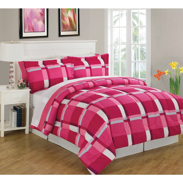 Block Pink King Size 8-Piece Reversible Bed In A Bag