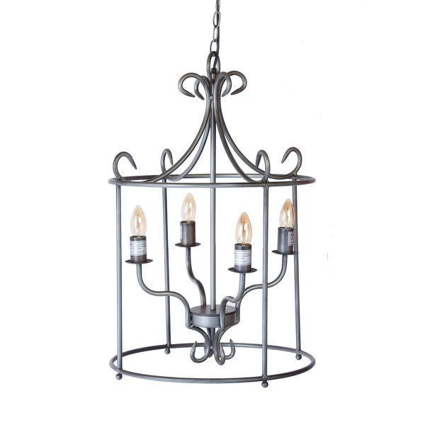 Bombay Round Pewter Caged Pendant Lamp