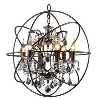 Rustic Black Orb 6-light Chandelier Circular Foyer Light Fixture