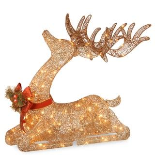 "National Tree Company 31"" Christmas Pre-lit Sisal Splendor Champagne Resting Reindeer Decor"