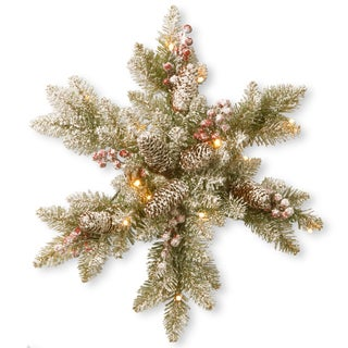 Dunhill Fir 18-inch Snowy Snowflake with White LED Lights