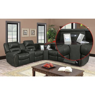 Nathanial Home Amelia Ported Bonded Leather Sectional