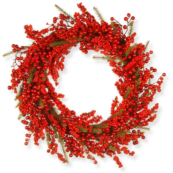 30-inch Faux Berry Holiday Wreath