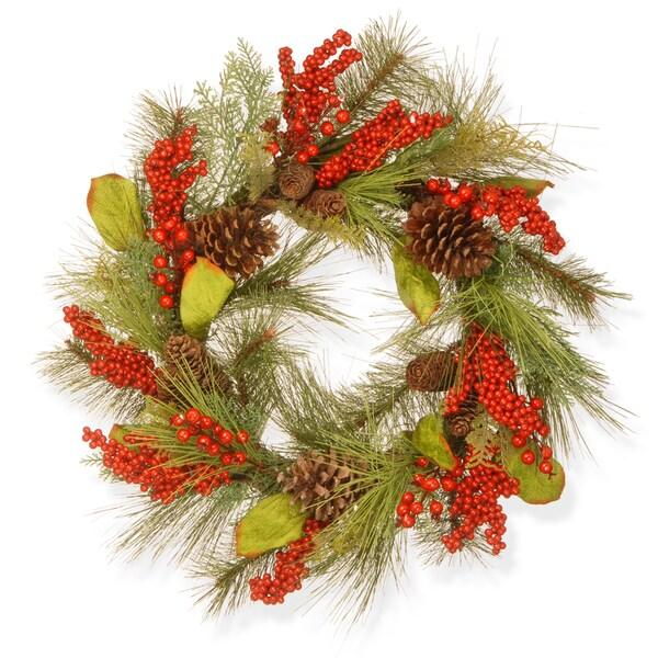 24-inch Bead, Pine, & Berry Wreath