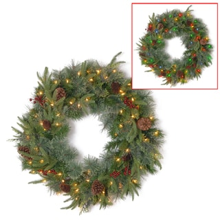 24-inch Colonial Artificial Wreath with Battery-operated Dual-color LED Lights
