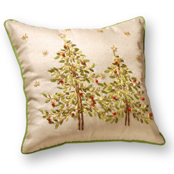 Cream Polyester 16-inch Christmas Trees Pillow