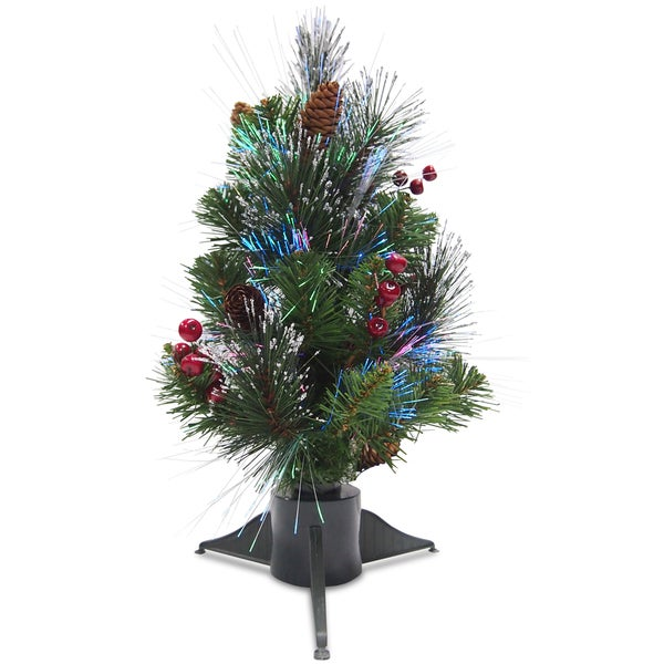 18-inch Artificial Crestwood Spruce Tree with Fiber-optic Lights