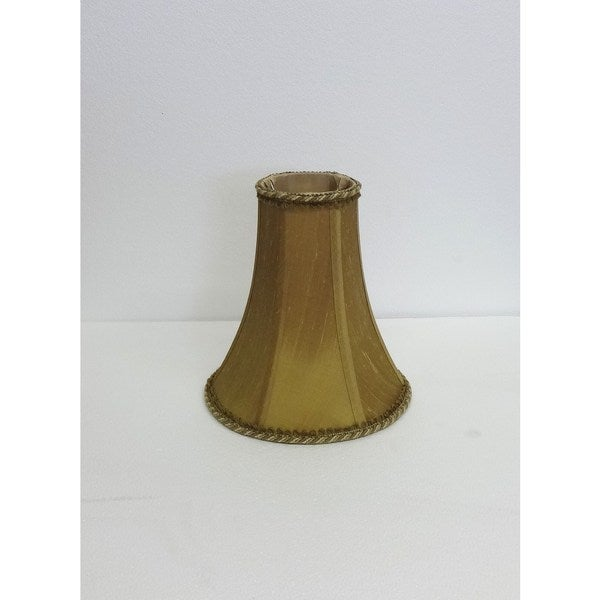 Slim Gold Silk Lampshade with Cord Trim