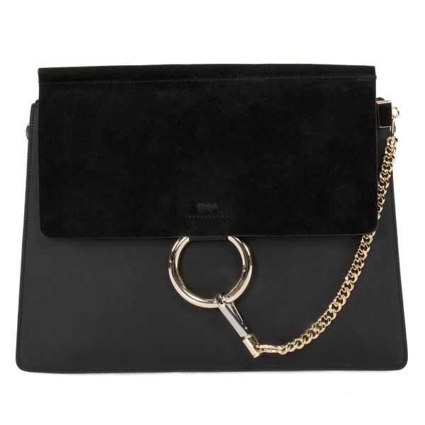 Chloe Faye Shoulder Bag in Black Smooth/Suede Calfskin w/ Pale Gold Hardware size Medium