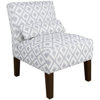 Skyline Furniture Ikat Fret Pewter Cotton Armless Chair