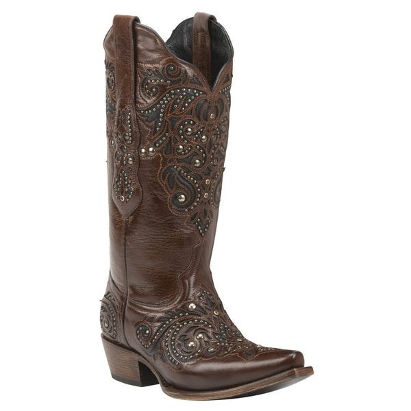Black Star Brown Leather Mid-calf Cowgirl Boots