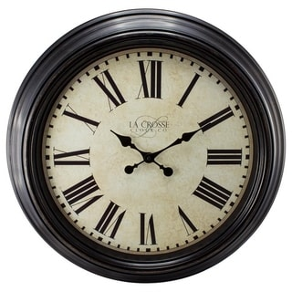 La Crosse Clock 404-2658 Brown 23-inch Round Antique Dial Analog Wall Clock with Roman Numerals