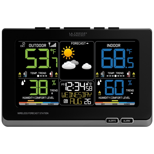 La Crosse Technology C87214 Multicolor Plastic Alarm Clock With Forecast