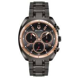 Bulova Men's 98A158 Stainless Steel Gunmetal Grey Case and Bracelet CURV Collection 5 Hand Chronograph Watch