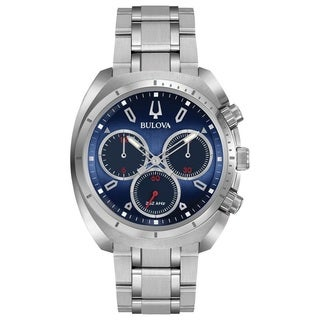 Bulova Men's 96A185 Stainless Steel Silver tone Case and Bracelet with a Blue Dial CURV Collection