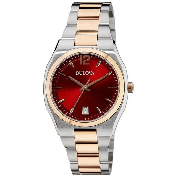 Bulova Women's 98M119 Two Tone Stainless Steel Two Tone Watch with a Roseberry Dial and Rose Gold Accents 20234612