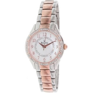 Bulova Women's 98L182 Two Tone Stainless Steel Crystal Adorned Watch with a Mother of Pearl Dial