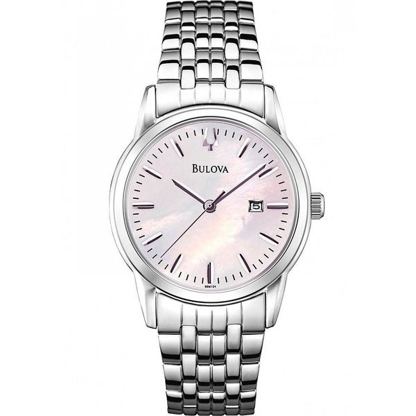 Bulova Women's 98M124 Silver Tone Stainless Steel Date Watch with a Pink Mother of Pearl Dial 20234656