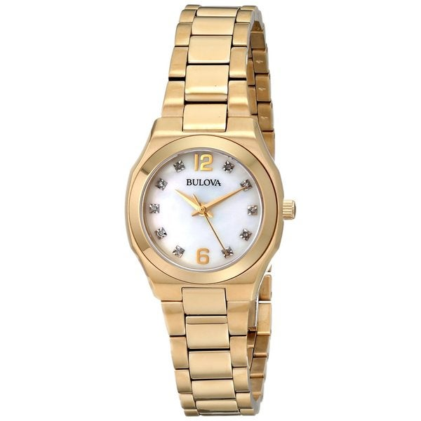 Bulova Ladies 97P109 Stainless Steel and Gold Tone Diamond  Watch with a Sapphire Crystal 20234668