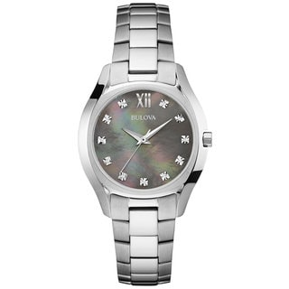 Bulova Ladies 96P158 Stainless Steel and Diamond Watch with a Black Mother of Pearl Dial is water resistant