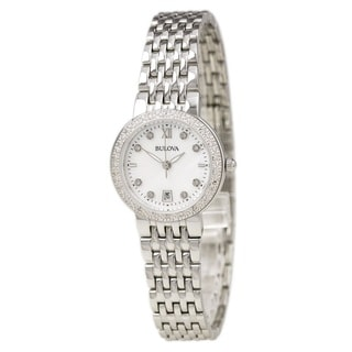 Bulova Ladies 96R203 Stainless Steel and Diamond Watch with a 30M water resistance and a Mother of Pearl Dial
