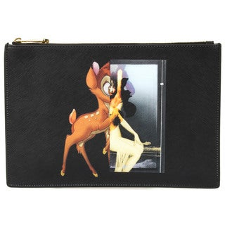 Givenchy Antigona Zip Pouch with Bambi Print in Black Size Medium