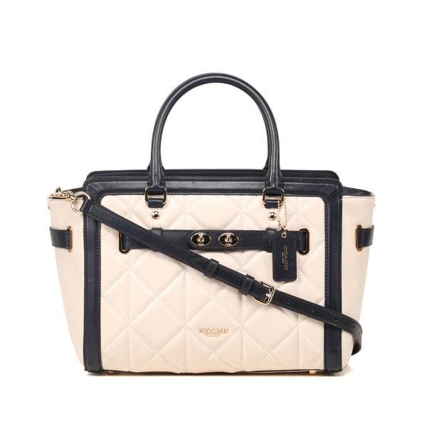 Coach Quilted Leather Chalk Midnight Color-block Blake Carryall