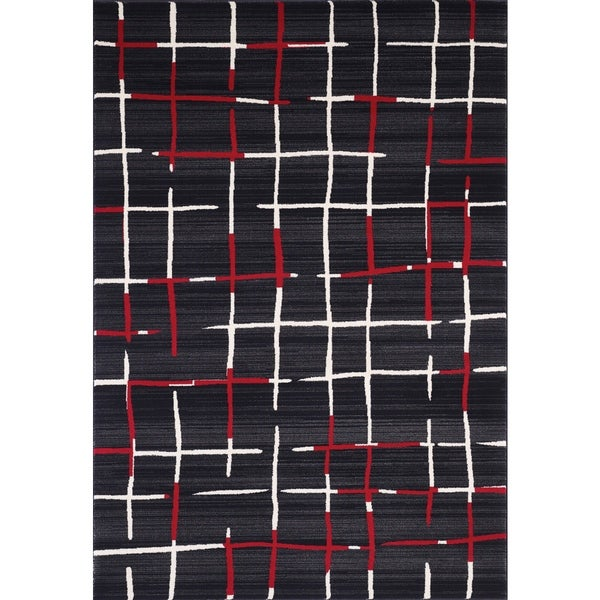 Dantes Contemporary Black Polypropylene Area Rug (8'x11')