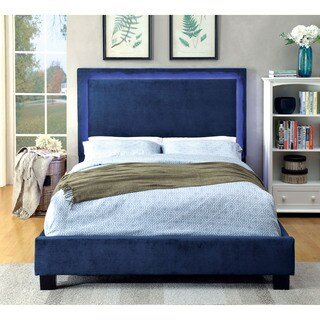 Furniture of America Winona Contemporary LED Light Trim Navy Flannelette Platform Bed