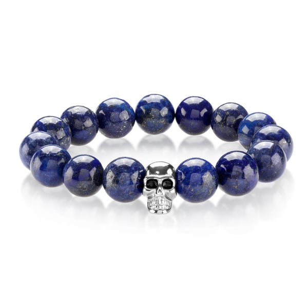 Crucible Men's Lapis Lazuli Stainless Steel Skull Bead Stretch Bracelet - 8 inches (14mm Wide) 20235567